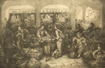 Claremont 'Chinese Market, Wanchai' proof etching 1982.